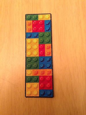 Completed Cross Stitch - Bookmark - Multi Coloured Building Blocks