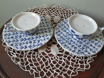 Blue & White Salt & Pepper Shakers-4 Pc Cup & Saucer