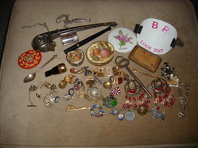 JobLot of Vintage/Antique Curios/Collectables junk drawer army/mens jewellery/BR