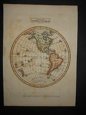 Original Western Hemisphere 1835 Map United States North & South America HColor
