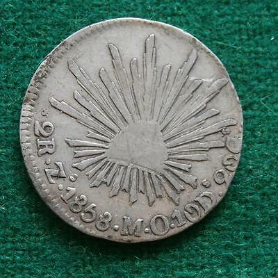 1858 MEXICO SILVER  2 Reales  Coin Zacatecas Zs MO Caps & rays