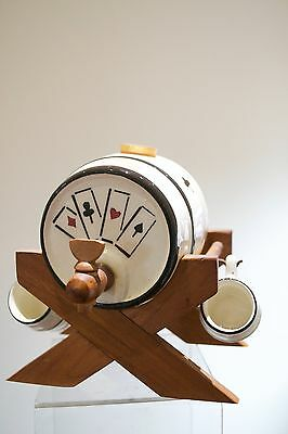 Vintage Hand Painted West German Ceramic Barrel Playing Cards Tankards