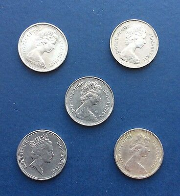 (Five) 5 New Pence Coins, 1968, 1975, 2 x 1980 & 1987 Circulated