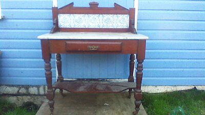 mahogany marble top wash stand/table,tiled back