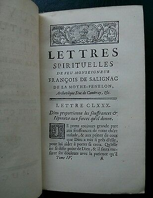 1740 Ouvres Spirituelles FENELON french religious book Leather GILT ORNAMENTS