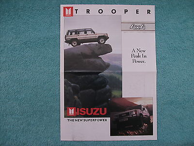 Isuzu Trooper 4x4 brochure c1990. A3 size. SWB and LWB models.