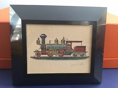 Double-End Tank Locomotive Framed Drawing- Hidden Liberty National Bank RARE