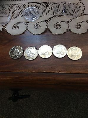 GUERNSEY 1985/86/87/88/89 BRILLIANT UNCIRCULATED 5p COINS