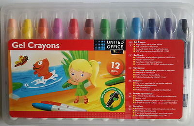 Q Gel Wax Crayons Set of 12 , High Quality,Made In Germany,Free P&P