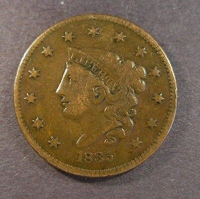 1835 CORONET HEAD LARGE CENT N-8 R.1 Very Fine details.