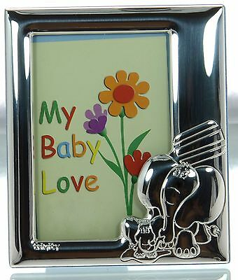 Trinity Solid 925 Sterling Silver Elephant Blue Baby Picture Frame New in Box '