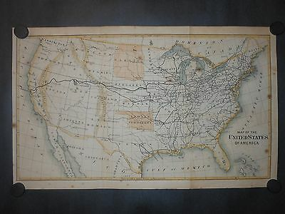 United States Of America 1869 Map Hand Color Railroads Indian & Dakota Territory