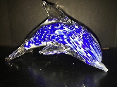 Glass Dolphin Paperweight/Home Decor
