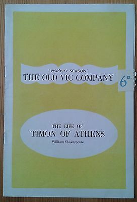 The Life Timon of Athens programme The Old Vic Company Theatre 1956/1957 season