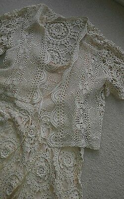 Stunning ladies vintage crochet dress and jacket size 10/12 Ideal for weddings