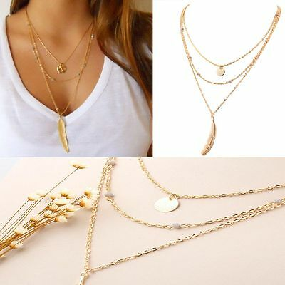 Beads Chain Women Silver&Gold Plated Three Layer Leaf Pendant Choker Necklace