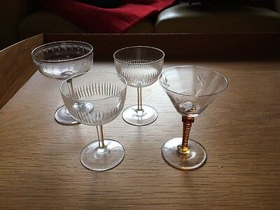 Four Vintage Champagne Glasses