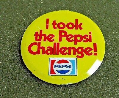 I Took The Pepsi Challenge Fold Over Button Tab 1980's Advertisement Campaign