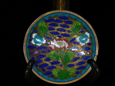 Vintage Chinese Cloisonne Plate Dish Small Turquoise Blue Enamel Water Lily