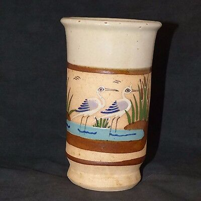 """Mexican Tonala Pottery Vase 2 Cranes Blue. Brown, White & Green 7 1/2"""" Tall Sign"""
