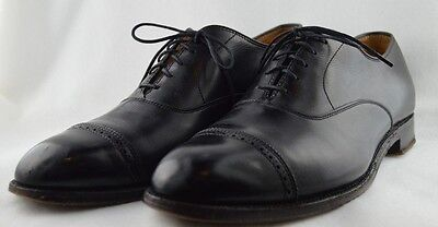 Alden for Sherman Brothers 901 lambskin black perf cap toe oxford 9.5