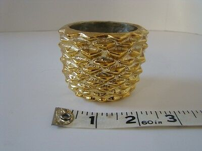 Avon Glass Pine Cone Votive Candlette Holder Gold Color Replacement Christmas