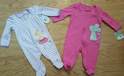 Baby infant girls 3 months Lot Of 2 Footed Sleepers pjs One Piece Pajamas NWT