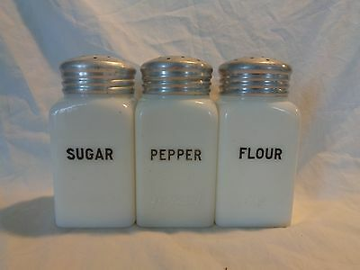 Milk Glass Hot Point Range Shakers Sugar Pepper Flour