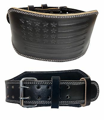 "Weight Lifting 6"" Padded Black Leather Belt Crossfit Gym Powerlifting"
