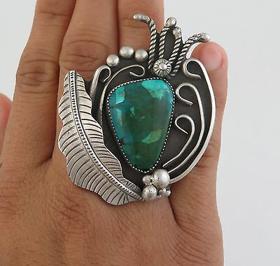 Huge 36 Gram Sterling Silver & Turquoise Ornate Applique Ring - Size 7.5