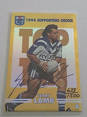 1994 Dynamic NRL Rugby League Series 2 - SIGNATURE CARD - TERRY LAMB 673/1500