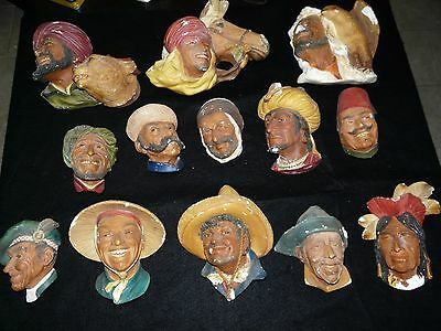 HUGE Lot of 13 Vintage 1950's-1960's Bossons England Chalkware Head Wall Plaques