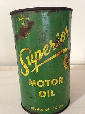 RARE EARLY IRVING SUPERIOR 35 Cent Imperial Quart Motor Oil Tin Can Gas Canada