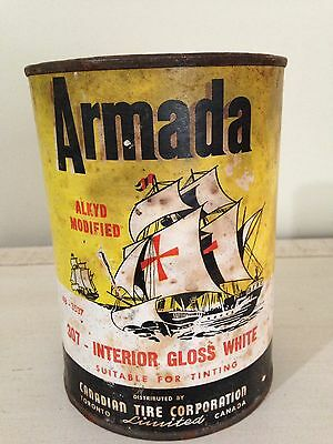 RARE FULL VINTAGE ARAMADA CANADIAN TIRE STAIN CAN BOAT, not Motor Oil Gas Sign