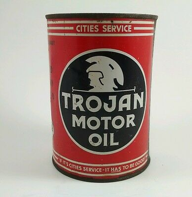 Very Rare Trojan Motor Oil Can - Cities Service - 1 Quart qt