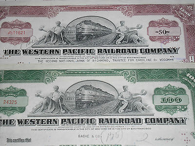 Western Pacific Railroad Stock Certificates Choice of 4 Different Colours