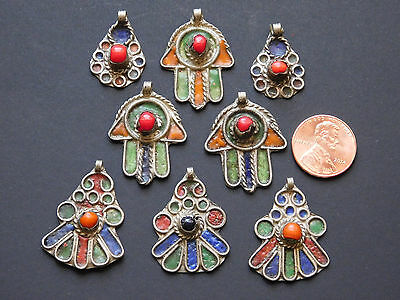 Lot of 8  Moroccan assorted Berber enameled Used pendants
