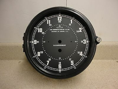 NOS 8 1/2 Inch  Elm Manufacturing Military Navy Plastic Clock Case w/ 12 Hr Dial