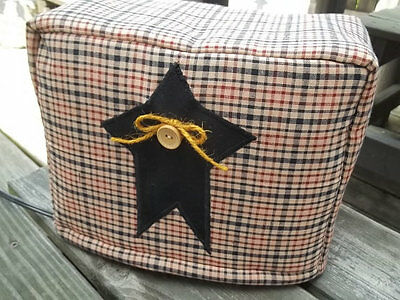 Toaster Cover Burgundy Black Tan Rustic Star Americana Fabric Quilted 2 Slice