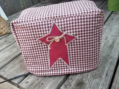 Toaster Cover Burgundy Cream Rustic Star Americana Fabric Quilted 2 Slice