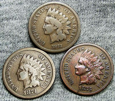 1873 (closed 3) + 1874 + 1875 Indian Head Cent Pennies ---- NICE ---- #D628