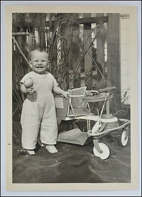 Original 5 x 7 Photo Toddler with 1950's Taylor Tot Stroller - Very Clean Image
