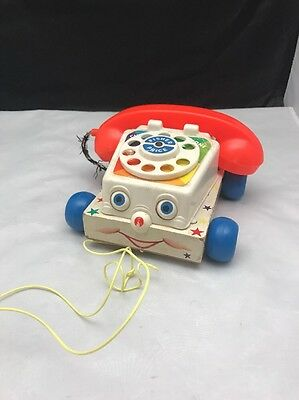 Vintage Fisher-Price Chatter Box Telephone Phone Classic Pull Toy #747