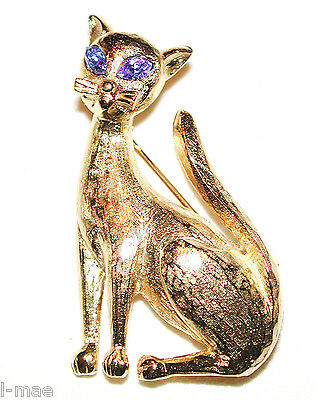 VINTAGE CAT BLUE EYED BRUSHED GILDED GOLD KITTY PIN BROOCH SPHINX of ENGLAND