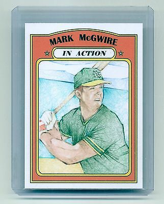 ACEO Art Sketch Card MARK MCGWIRE Original 1/1 Drawing Artist Signed  In Action