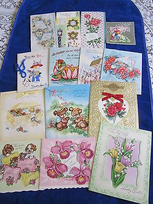 """14 VINTAGE GREETING CARDS FROM 1940""""s--UNSIGNED"""