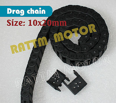 2M 10x20mm Cable drag chain R28 Wire Carrier with End Connectors For CNC Router