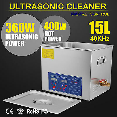 Stainless Steel 15L Liter Industry Heated Ultrasonic Cleaner Heater w/Timer New