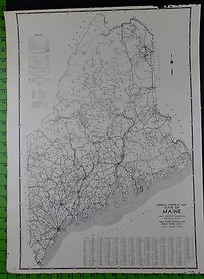 Maine 1938 Highway Map 18x24 Inches