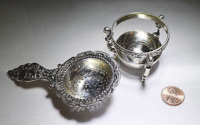SIMPSON HALL MILLER STERLING Repousse SILVER TEA STRAINER & Stand Free Ship